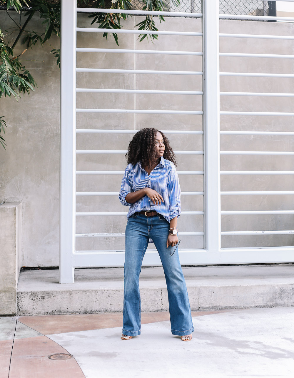 Flared jeans and boyfriend shirt-7
