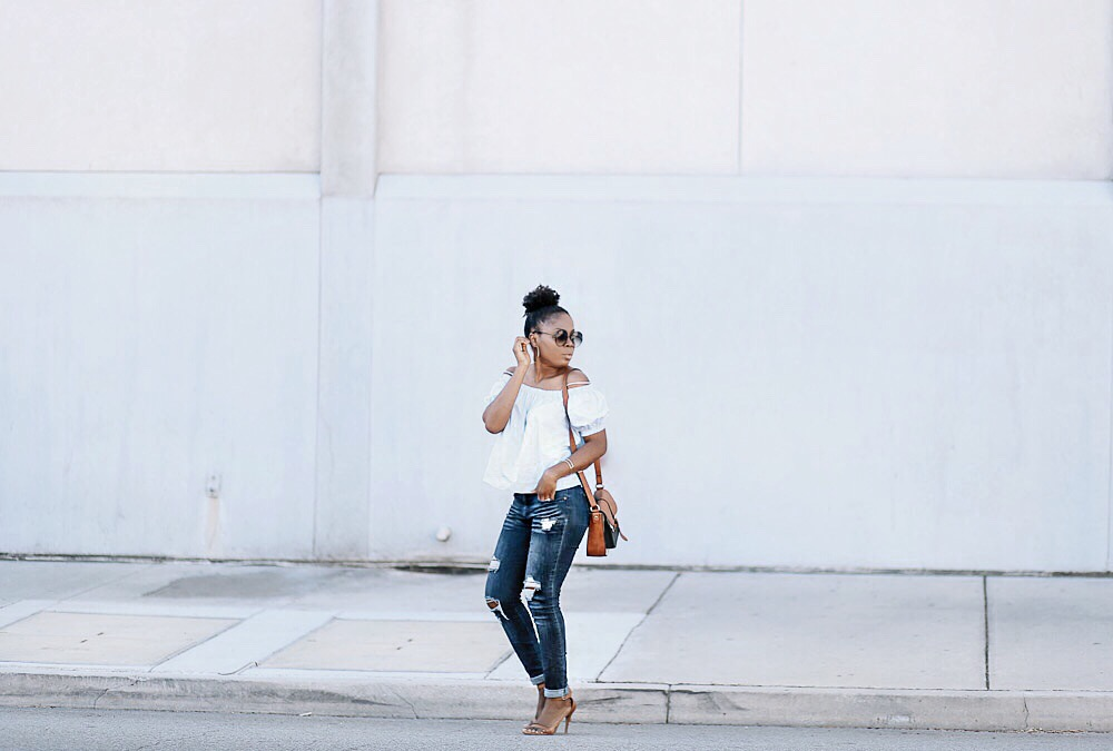 off shoulder + distressed jeans