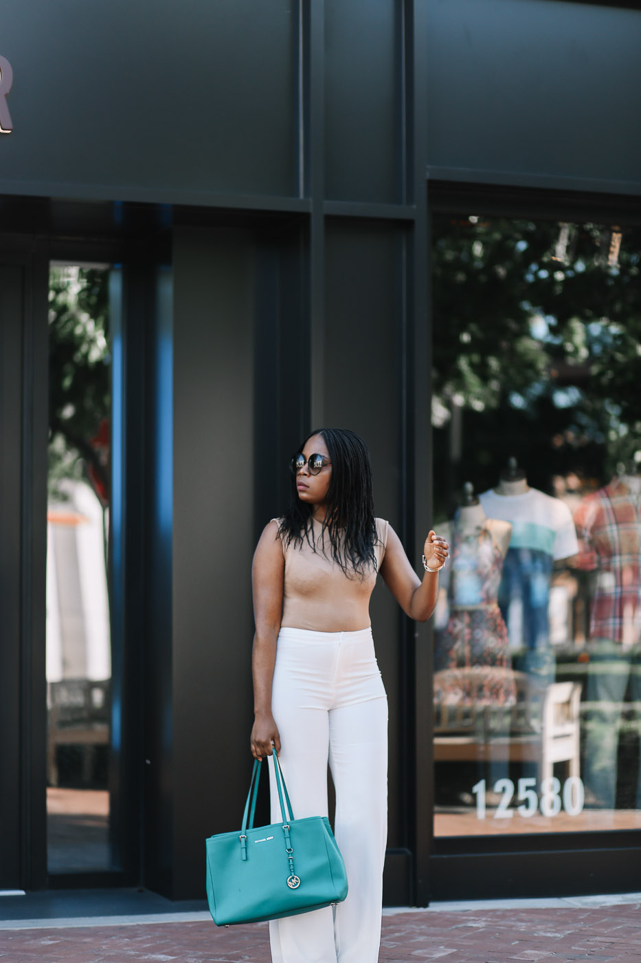 camel bodysuit and white flare pants-18