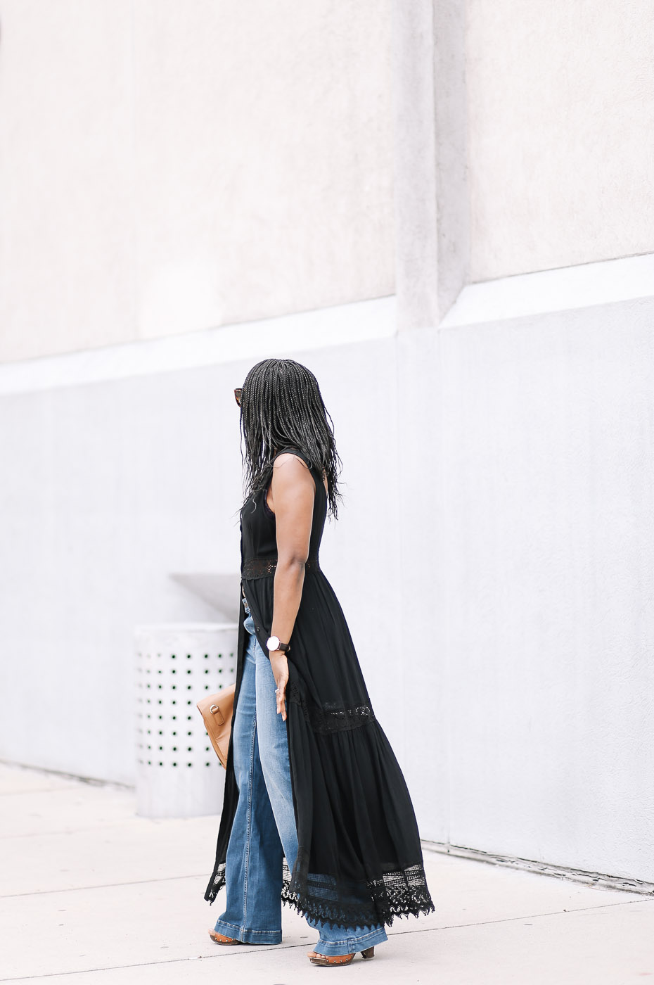 Flare denim and Maxi dress-2
