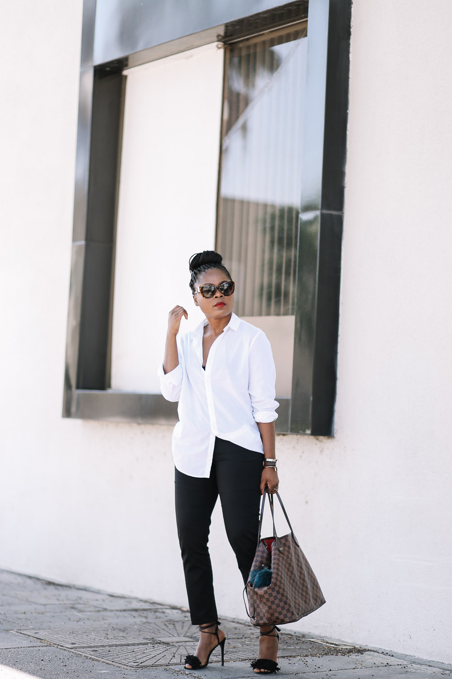 boyfriend shirt and Black slacks-2