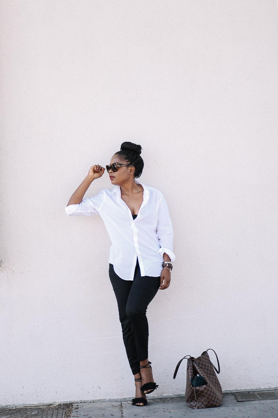 boyfriend shirt and Black slacks-4