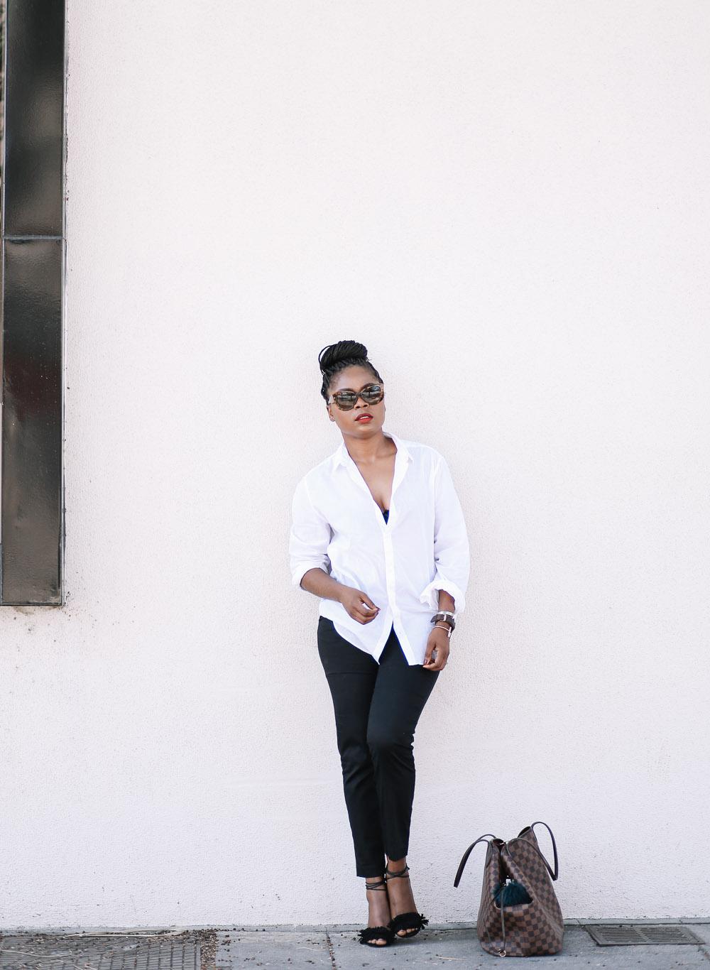 boyfriend shirt and Black slacks-5